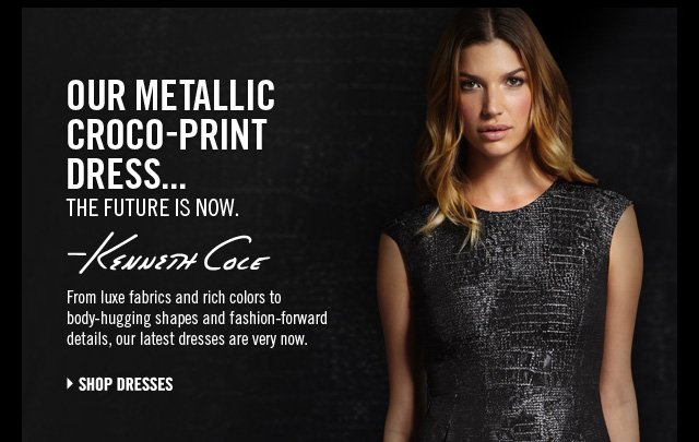 Our Metallic Croco-Print Dress… The future is now.