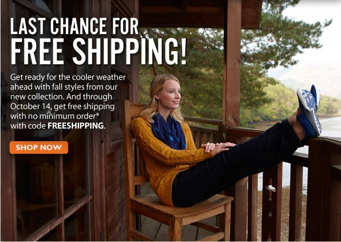 One Week Only Free Shipping! Through October 14, get free shipping with no minimum order with code FREESHIPPING Shop Now