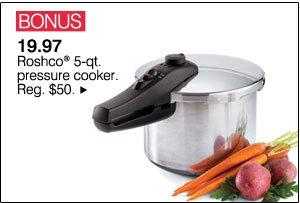 BONUS 19.97 Roshco® 5-qt pressure cooker. Reg. $50.