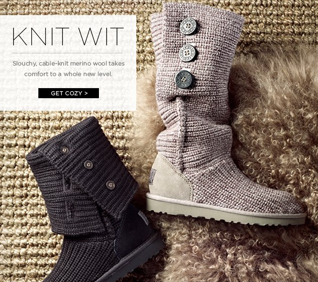 Knit Wit - Slouchy, cable-knit merino wool takes comfort to a whole new level - Get Cozy