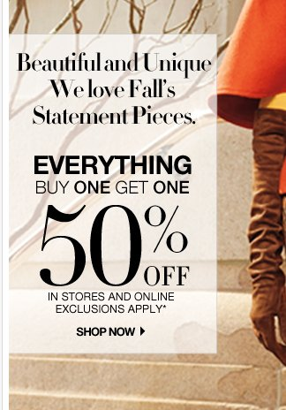 2 more days to use your $90 coupon. Everything is Buy One Get One 50% off, and a $50 online coupon. Shop now