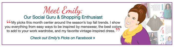 Check out Emily's Picks on Facebook