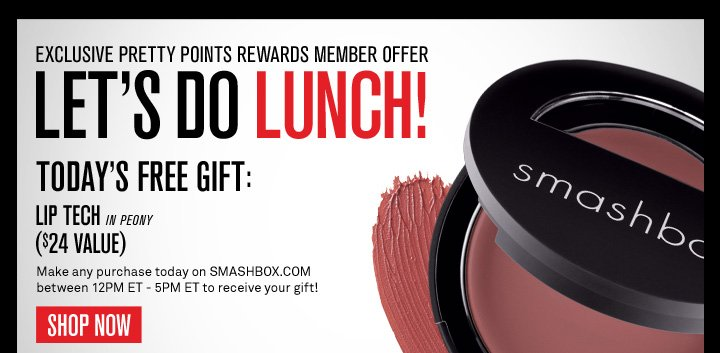 Let's Do Lunch! Today only! FREE Lip Tech in Peony ($24 value) with any purchase + free shipping