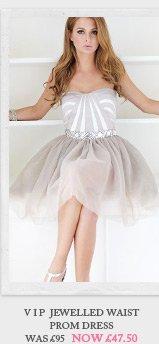 V I P Jewelled Waist Prom Dress
