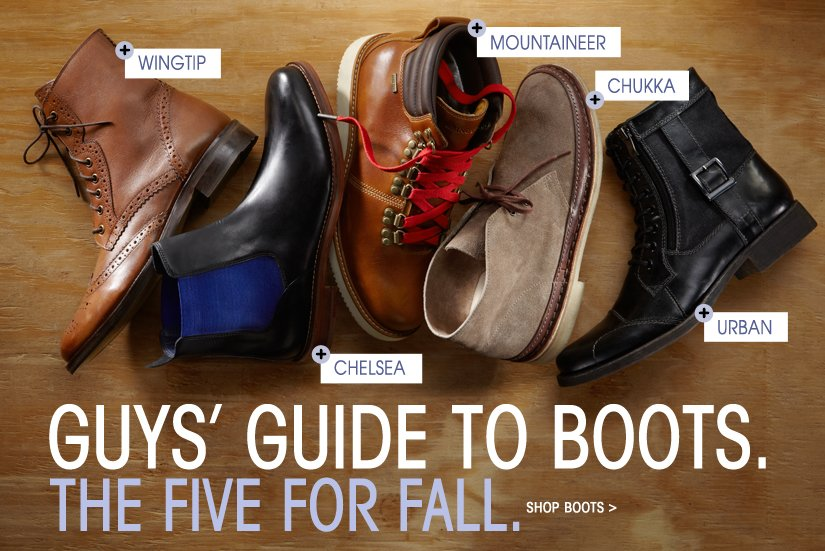 GUYS' GUIDE TO BOOTS. THE FIVE FOR FALL. SHOP BOOTS