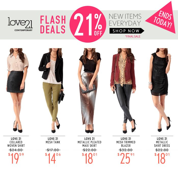ONE DAY FLASH DEAL – 21% Off Love21