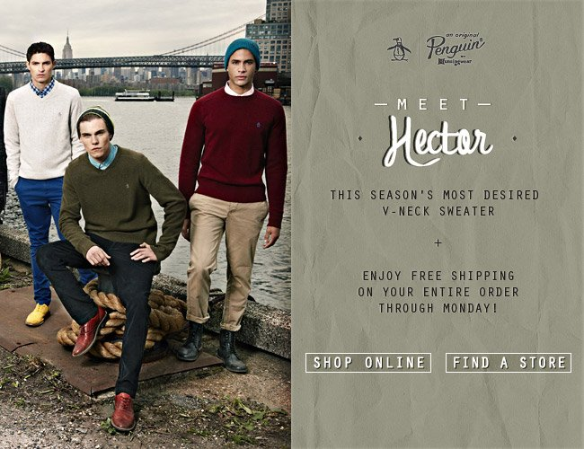 Meet Hector!This Season's Most Desired V-Neck Sweater