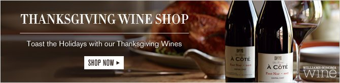 THANKSGIVING WINE SHOP -- Toast the Holidays with our Thanksgiving Wines -- SHOP NOW -- WILLIAMS-SONOMA WINE