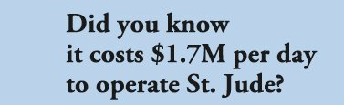 Did you know it costs $1.7M per day to operate St. Jude?