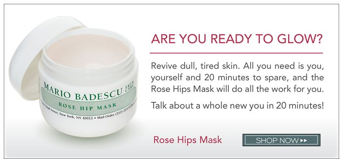 Are you ready to glow? Revive dull, tired skin. All you need is you, yourself and 20 minutes to spare, and the Rose Hips Mask will do all the work for you. Talk about a whole new you in 20 minutes!