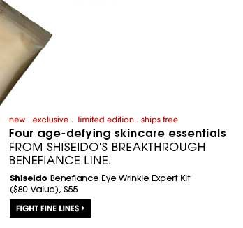 new . exclusive . limited edition . ships free | Four age-defying skincare essentials from Shiseido's breakthrough Benefiance line. Shiseido Benefiance Eye Wrinkle Expert Kit ($80 Value), $55. Fight fine lines.