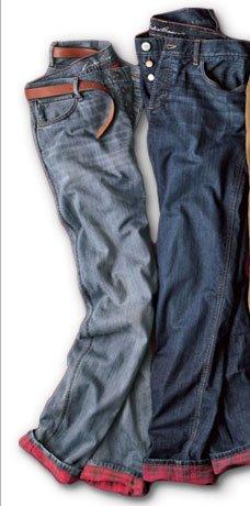 Boyfriend Flannel-Lined Jeans