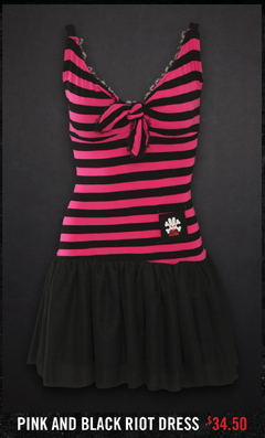 PINK AND BLACK RIOT DRESS $34.50