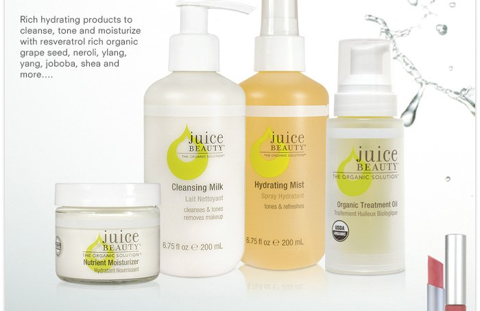 Ultimate Hydration products: Cleansing Milk, Hydrating Mist, Organic Treatment Oil, Nutrient Moisturizer