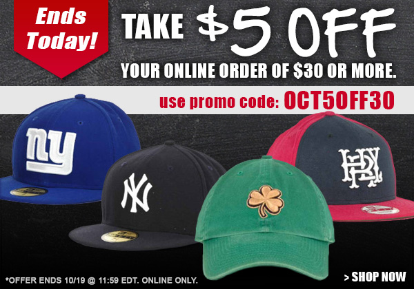 Ends Today - Save $5 on an order of $30 or more