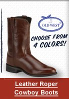 leather roper cowboy boot