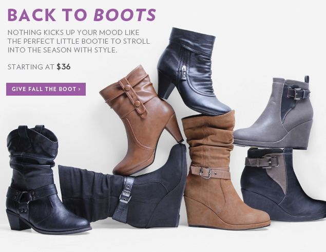 Nothing kicks up your mood like the perfect little bootie to stroll into the season with style. Starting at $36 - Give Fall the Boot!