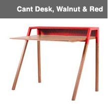 Cant Desk, Walnut & Red Image