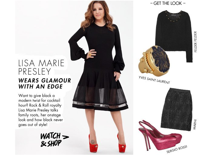 Lisa Marie Presley wears glamour with an edge