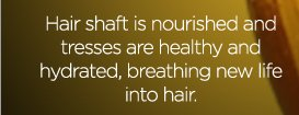 Hair shaft is nourished and tresses are healthy and hydrated, breathing new life into hair.