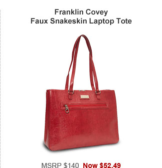Franklin Covey Faux Snakeskin Laptop Tote