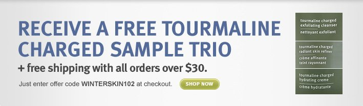 Receive a Free tourmaline  charged sample Trio + free shipping with all orders over $30. shop now