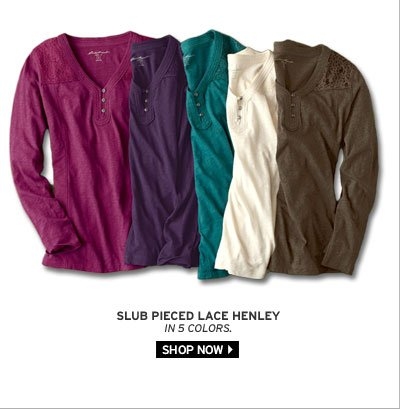 Slub Pieced Lace Henley