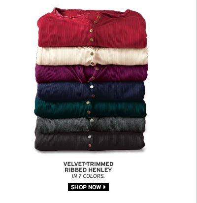 Velvet-Trimmed Ribbed Henley
