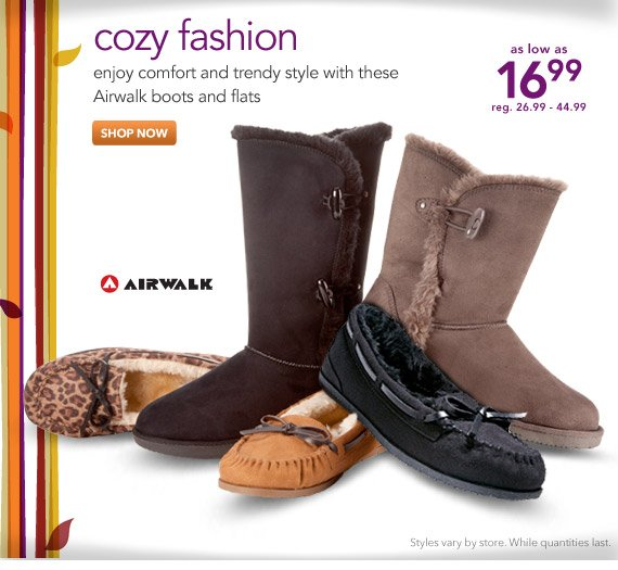 Enjoy comfort and trendy style with cozy Airwalk boots and flats.