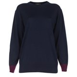 Paul Smith Knitwear - Navy Contrast Cuff Merino Wool Jumper
