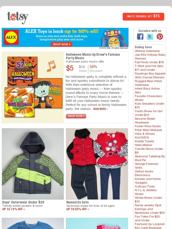 Totsy Email Newsletters Shop Sales Discounts And Coupon