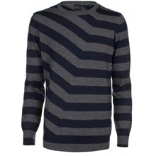Paul Smith Knitwear - Grey And Navy Broken Stripe Jumper