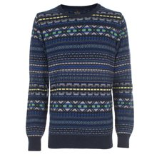 Paul Smith Knitwear - Navy Fair Isle Knit Jumper