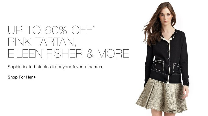 Up to 60% Off* Eileen Fisher, Pink Tartan + more