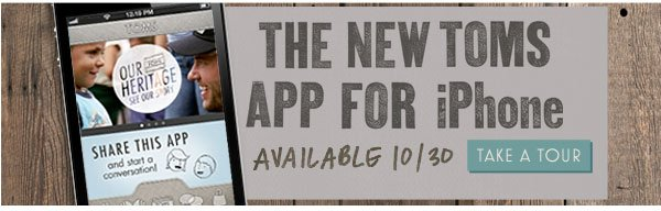 The new TOMS app for iPhone, available 10/30