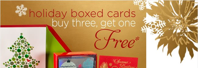 boxed holiday cards: buy three, get one free