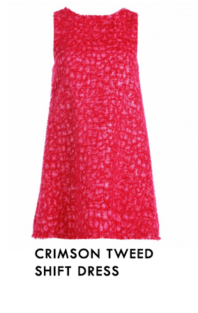 Crimson Tweed Shift Dress