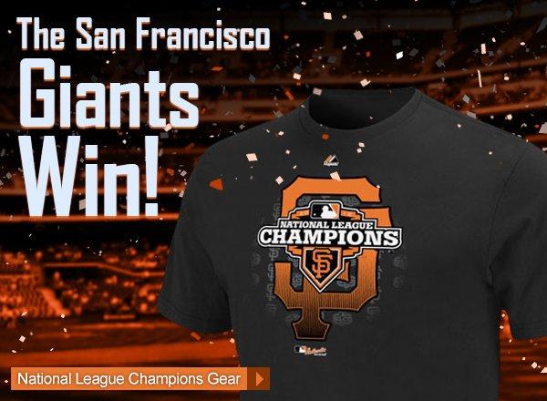 The San Francisco Giants Win! Shop National League Champions Gear.