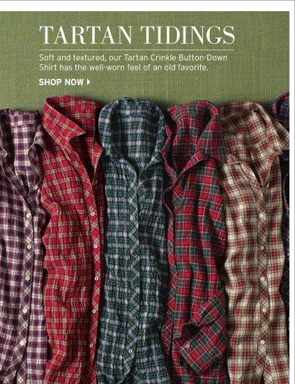 Tartan Crinkle Button-Down Shirt