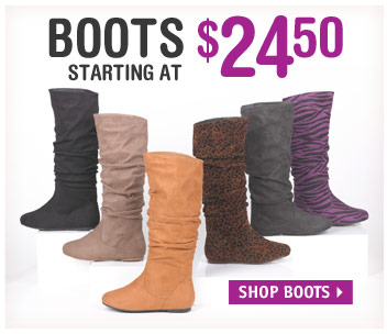 BOOTS STARTING AT  $24.50