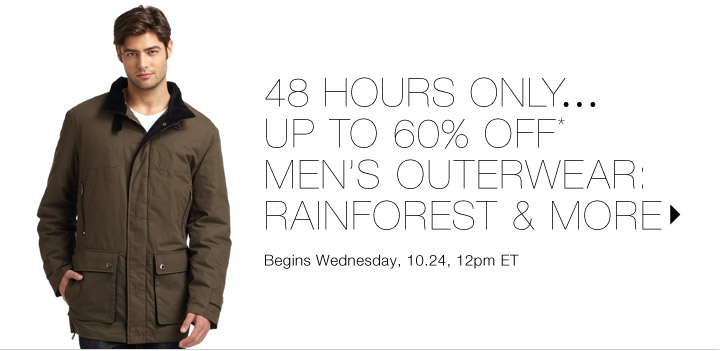 Up to 60% Off* Men's Outerwear...Shop now
