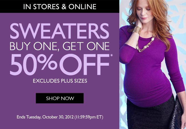 Sweaters: Buy One, Get One 50% Off
