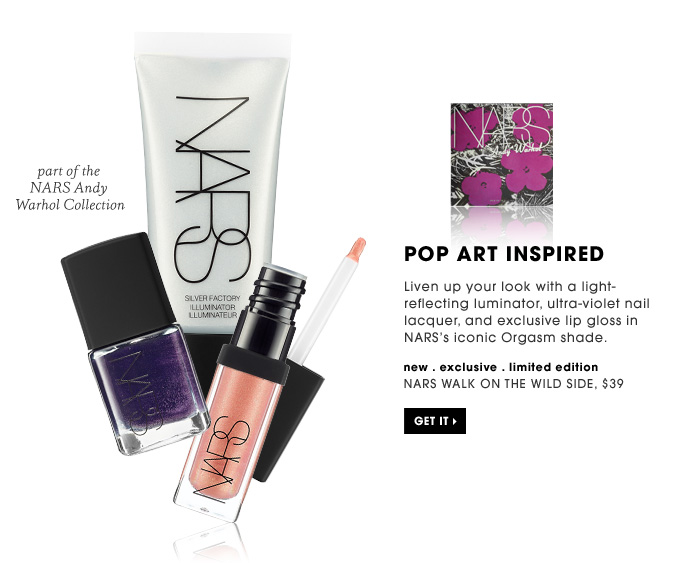 Pop Art Inspired. Liven up your look with a light-reflecting luminator, ultra-violet nail lacquer, and exclusive lip gloss in NARS's iconic Orgasm shade. part of the NARS Andy Warhol Collection. Get it. new . exclusive . limited edition. NARS Walk On The Wild Side, $39