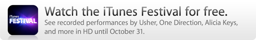 Watch the iTunes Festival for free by October 31.