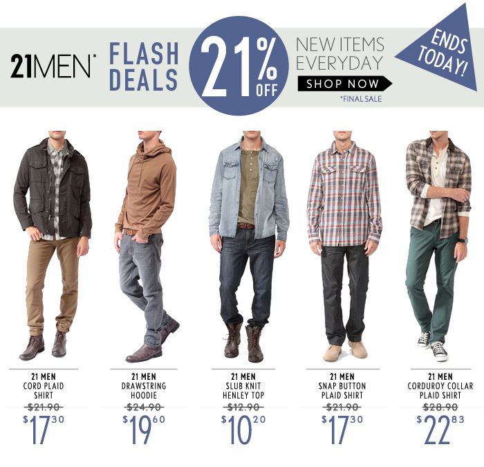 ONE DAY FLASH DEAL – 21% Off MEN