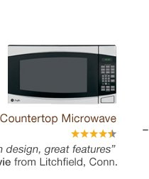 GE Profile Countertop Microwave. 'Very modern design, great features.' - Evie from Litchfield, Conn.