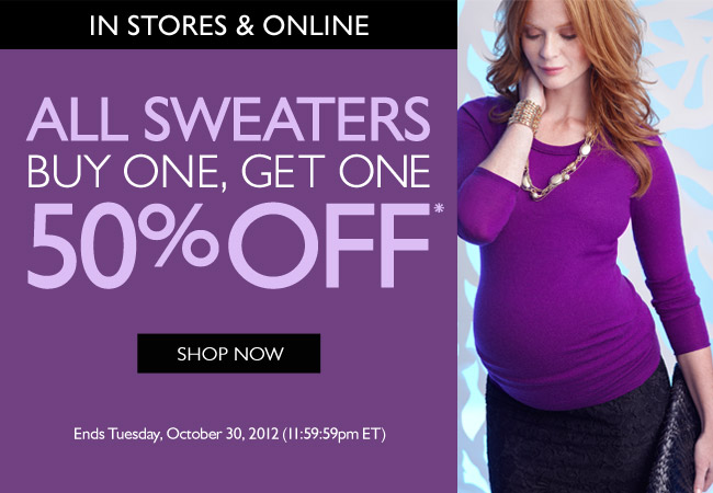 All Sweaters: Buy One, Get One 50% Off