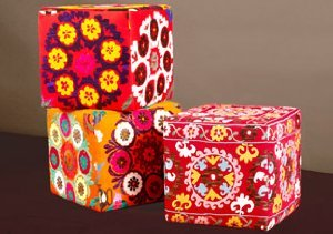 One of a Kind Suzani Ottomans