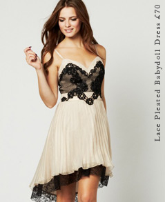 Lace Pleated Babydoll Dress