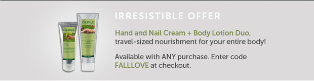 Irresistible Offer: Hand and Nail Cream + Body Lotion Duo, Travel-sized nourishment for your entire body! Available with ANY purchase. Enter code FALLLOVE at checkout.